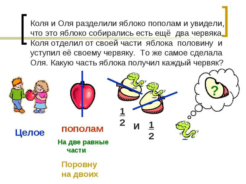 Коля и Оля разделили яблоко пополам и увидели, что это яблоко собирались есть...