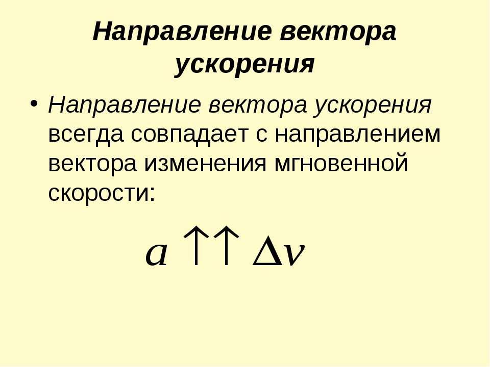 Направление вектора ускорения Направление вектора ускорения всегда совпадает ...