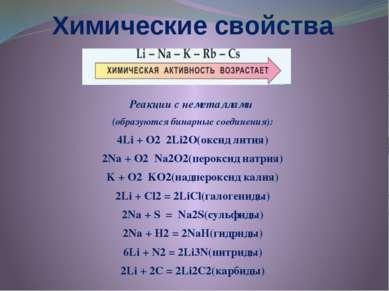 Химические свойства Реакции с неметаллами (образуются бинарные соединения): 4...