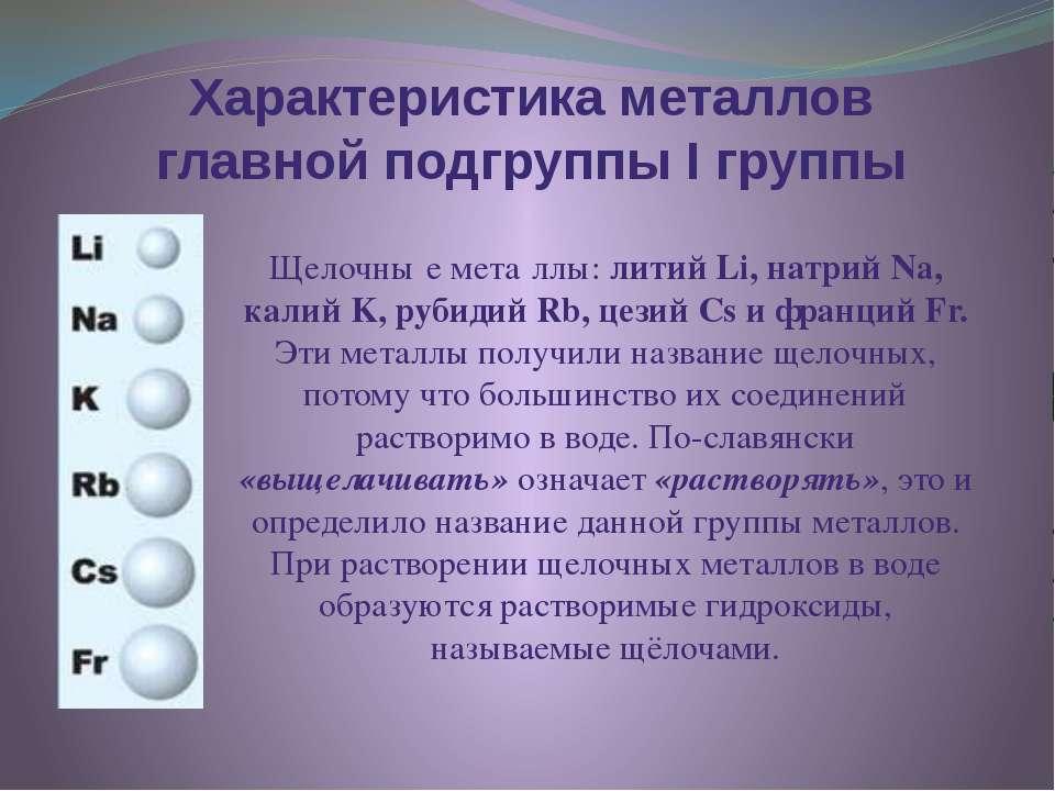 Характеристика металлов главной подгруппы I группы Щелочны е мета ллы: литий ...