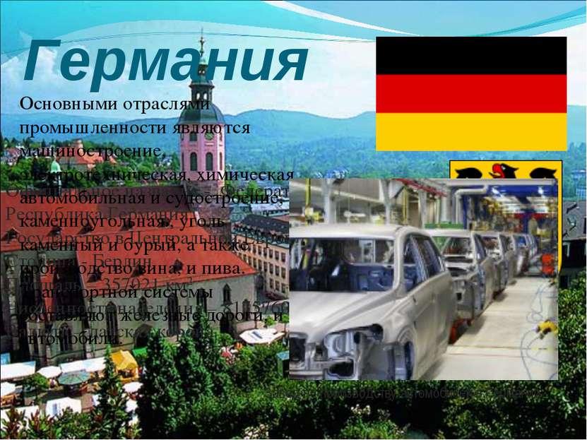Германия Флаг и герб страны Официальное название - Федеративная Республика Ге...
