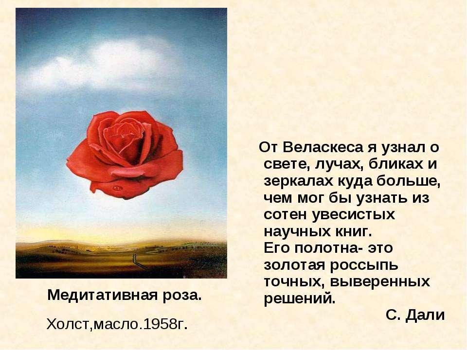 Медитативная роза. Холст,масло.1958г. От Веласкеса я узнал о свете, лучах, б...