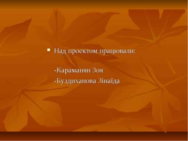 Над проектом працювали: -Караманян Зоя -Буздиханова Зінаїда