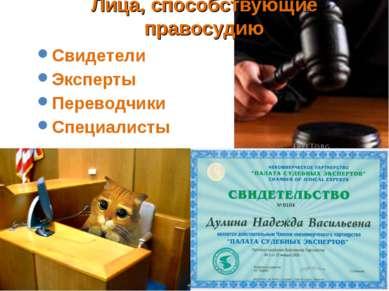 Лица, способствующие правосудию Свидетели Эксперты Переводчики Специалисты