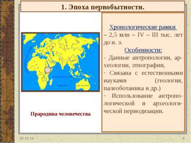 1. Эпоха первобытности. Хронологические рамки – 2,5 млн – IV – III тыс. лет д...