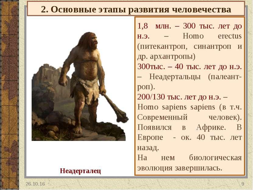 2. Основные этапы развития человечества 1,8 млн. – 300 тыс. лет до н.э. – Hom...