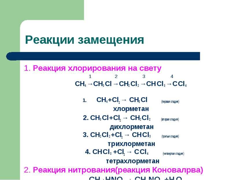 Реакции замещения 1. Реакция хлорирования на свету 1 2 3 4 СН4 →СН3 Сl →СН2 С...