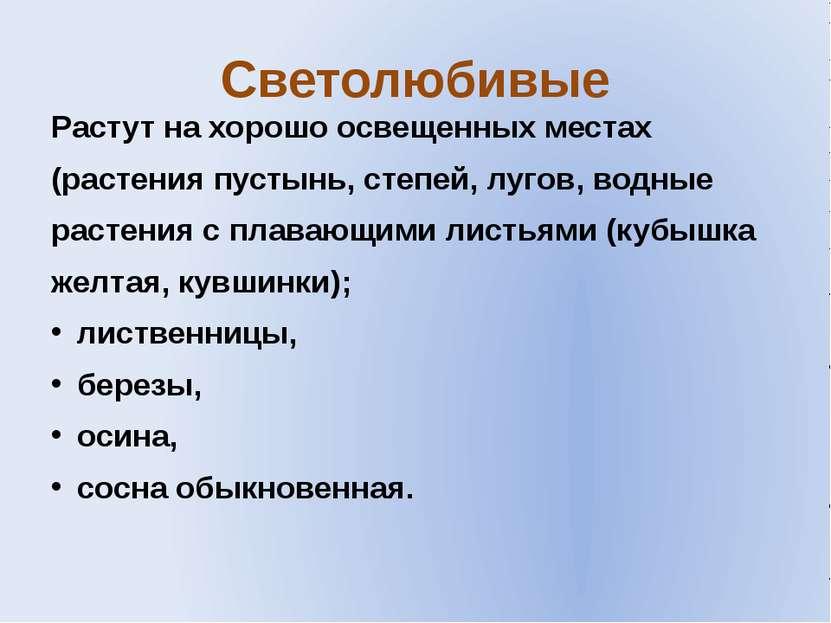 Светолюбивые Растут на хорошо освещенных местах (растения пустынь, степей, лу...