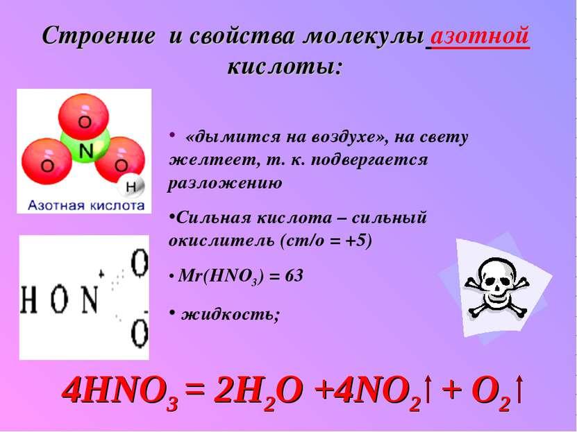 Строение и свойства молекулы азотной кислоты: «дымится на воздухе», на свету ...