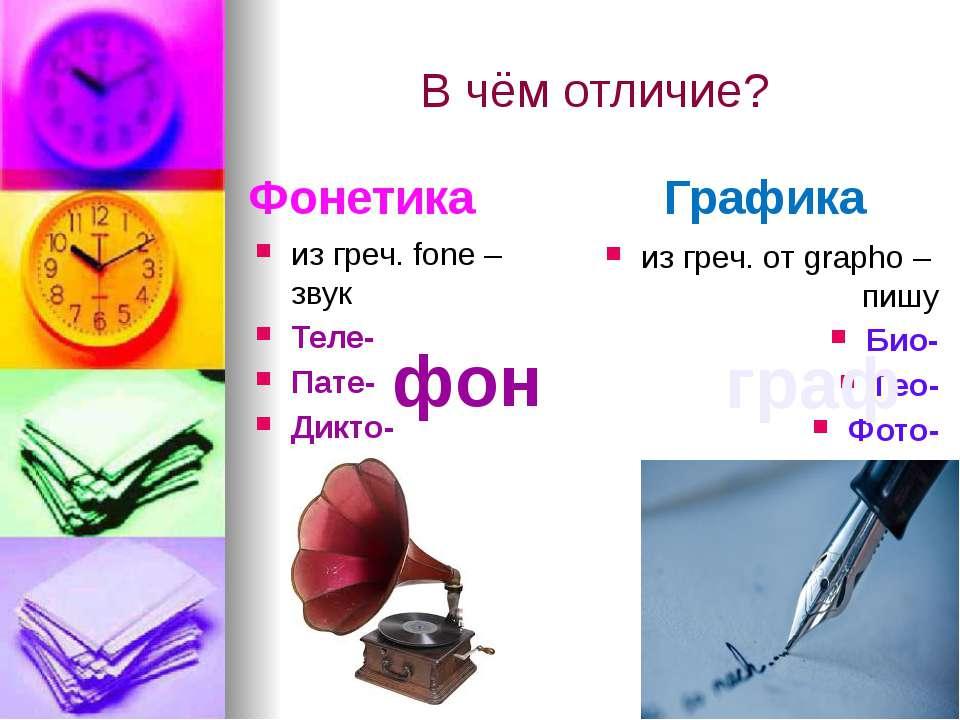 В чём отличие? Фонетика из греч. fonе – звук Теле- Пате- Дикто- Графика из гр...