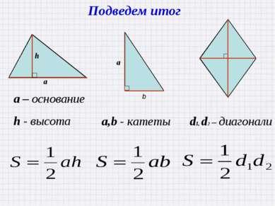 Подведем итог a – основание h - высота a,b - катеты d1, d2 – диагонали