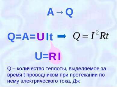 A→Q Q – количество теплоты, выделяемое за время t проводником при протекании ...