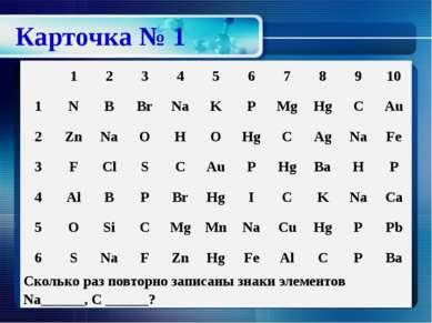 Карточка № 1 1 2 3 4 5 6 7 8 9 10 1 N B Br Na K P Mg Hg C Au 2 Zn Na O H O Hg...