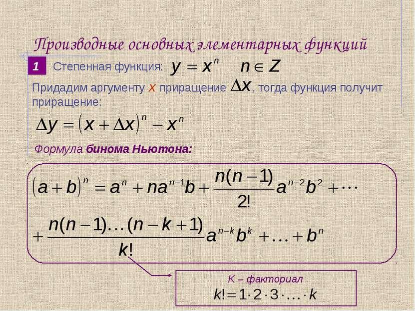 Производные основных элементарных функций 1 Формула бинома Ньютона: Степенная...