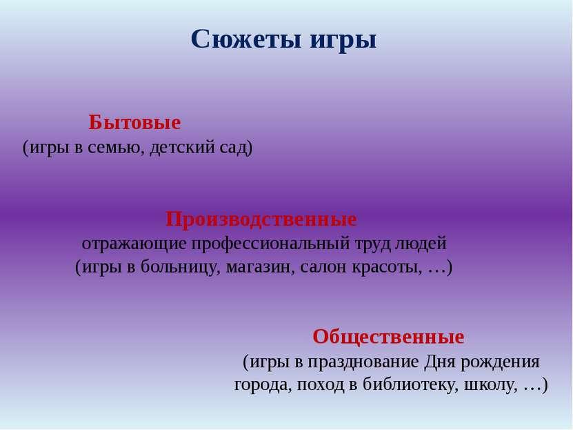 Бытовые (игры в семью, детский сад) Общественные (игры в празднование Дня р...