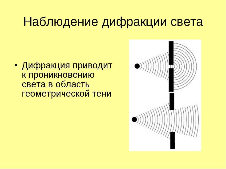Наблюдение дифракции света Дифракция приводит к проникновению света в область...