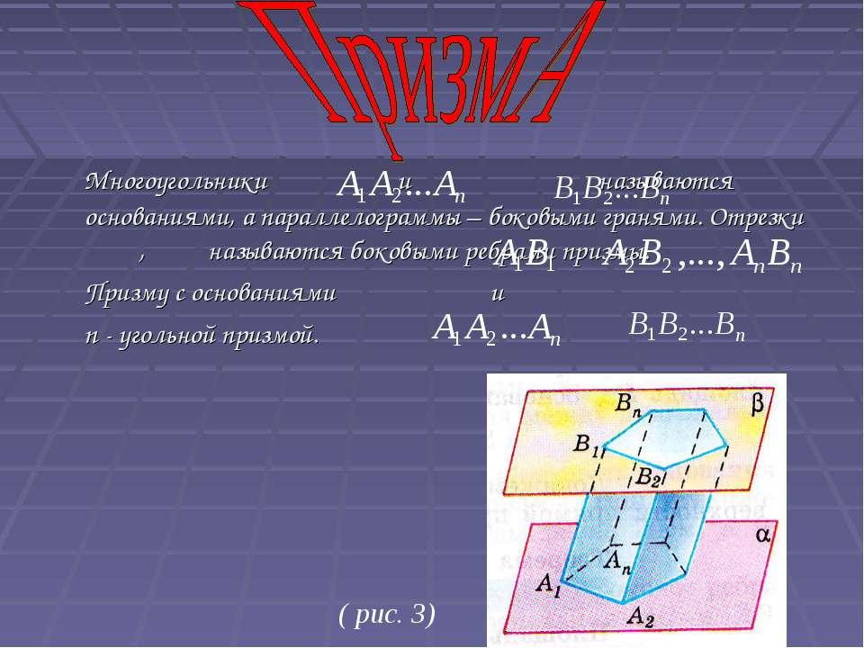 Многоугольники и называются основаниями, а параллелограммы – боковыми гранями...