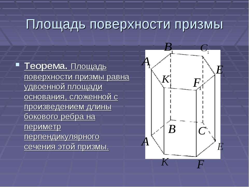 Площадь поверхности призмы Теорема. Площадь поверхности призмы равна удвоенно...