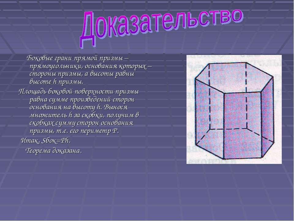 Боковые грани прямой призмы – прямоугольники, основания которых – стороны при...