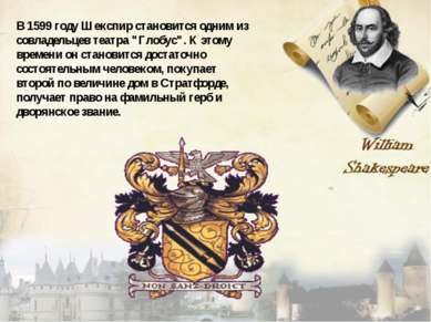 """В 1599 году Шекспир становится одним из совладельцев театра """"Глобус"""". К этому..."""