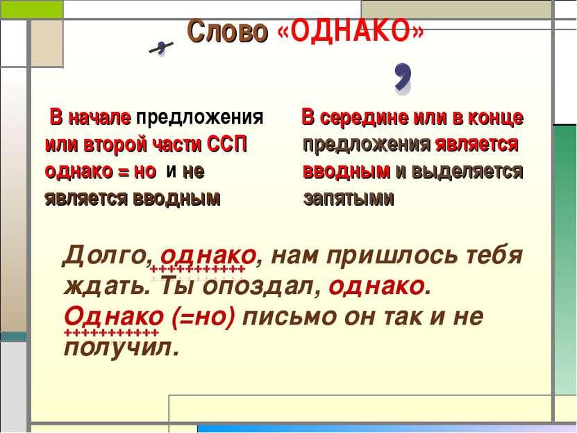 Слово «ОДНАКО» В середине или в конце предложения является вводным и выделяет...