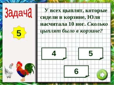 У всех цыплят, которые сидели в корзине, Юля насчитала 10 ног. Сколько цыплят...