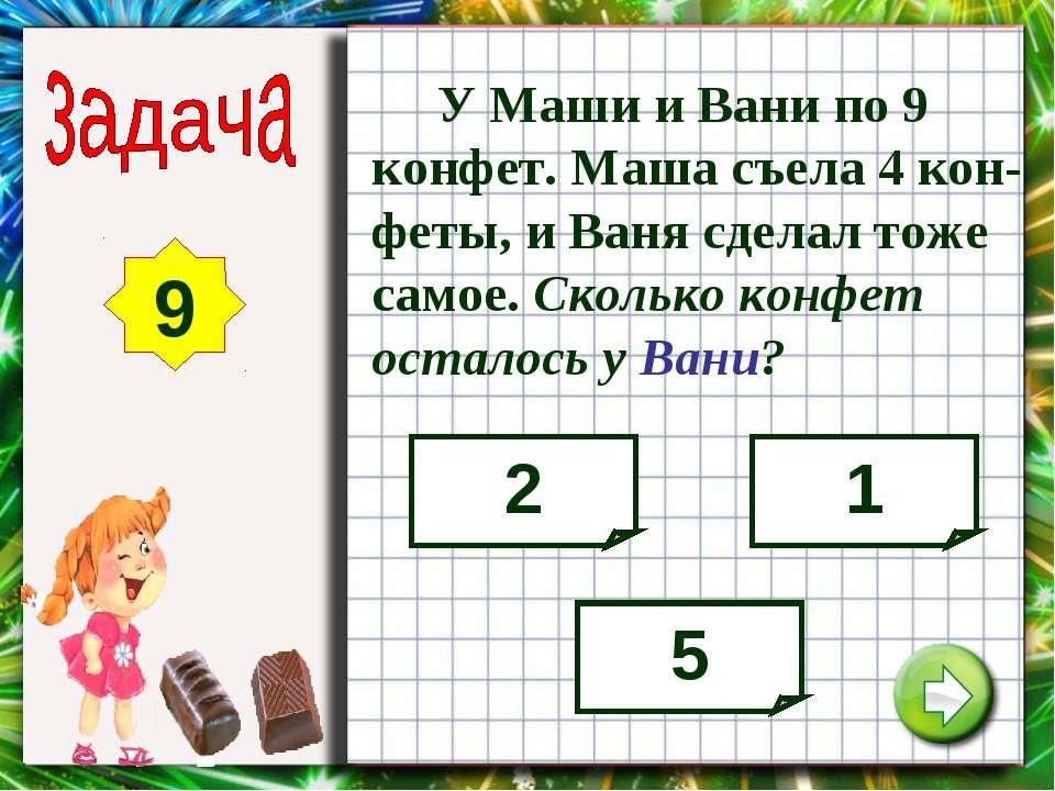 9 У Маши и Вани по 9 конфет. Маша съела 4 кон-феты, и Ваня сделал тоже самое....