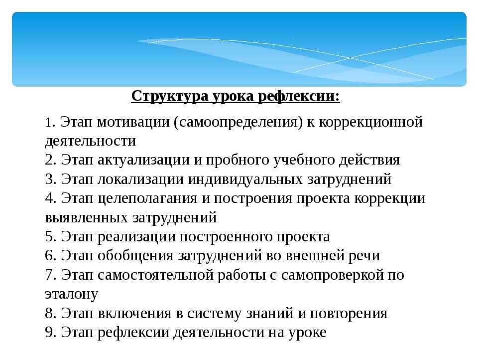 Структура урока рефлексии: 1. Этап мотивации (самоопределения) к коррекционно...