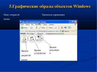 5.Графические образы объектов Windows Значок закрытой папки Значок документа ...