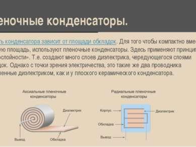 Пленочные конденсаторы. Емкость конденсатора зависит от площади обкладок. Для...