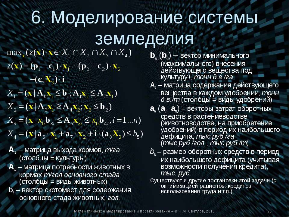 Математическое моделирование и проектирование – © Н.М. Светлов, 2010 6. Модел...