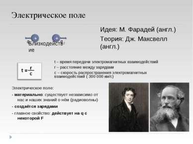 Электрическое поле Близкодействие Идея: М. Фарадей (англ.) Теория: Дж. Максве...