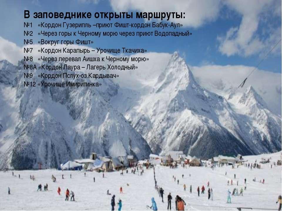 В заповеднике открыты маршруты: №1 «Кордон Гузерипль –приют Фишт-кордон Бабук...