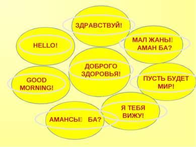 ДОБРОГО ЗДОРОВЬЯ! HELLO! GOOD MORNING! АМАНСЫҢ БА? МАЛ ЖАНЫҢ АМАН БА? ПУСТЬ Б...
