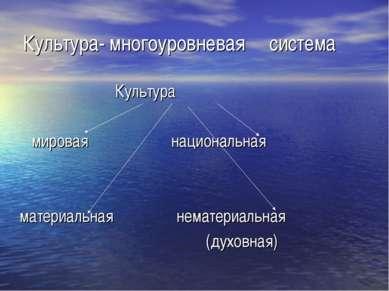 Культура- многоуровневая система Культура мировая национальная материальная н...