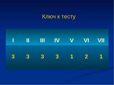 Ключ к тесту I II III IV V VI VII 3 3 3 3 1 2 1