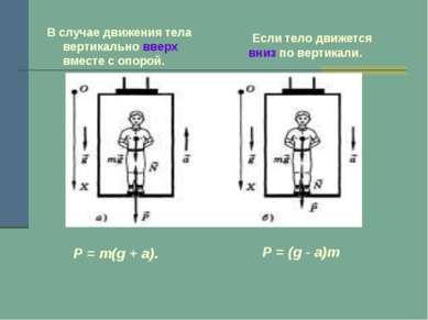 В случае движения тела вертикально вверх вместе с опорой. Если тело движется ...