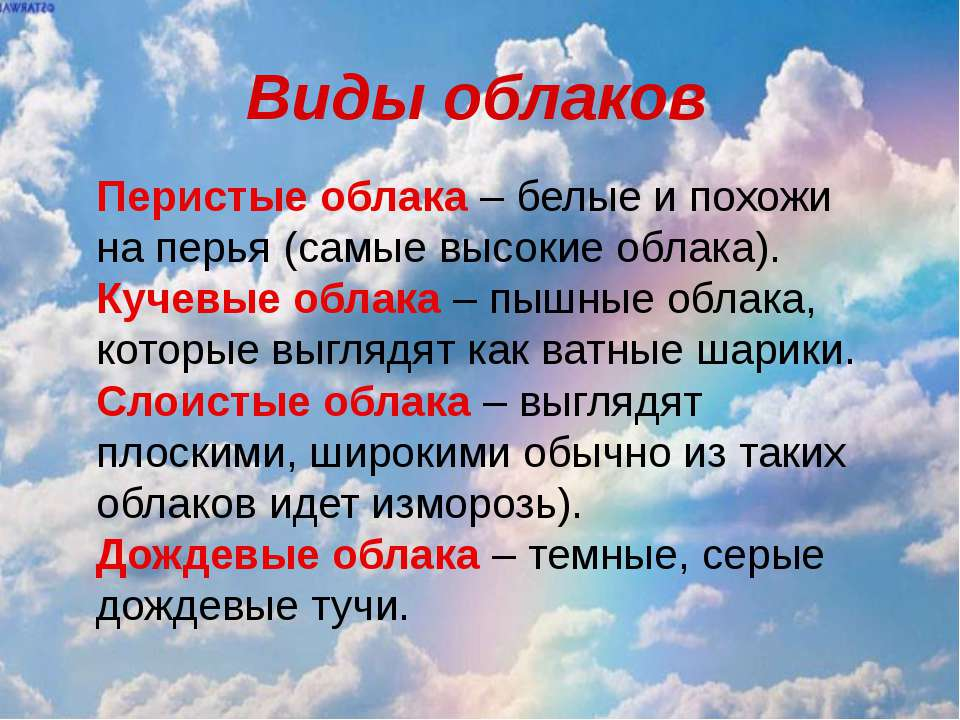 Виды облаков Перистые облака – белые и похожи на перья (самые высокие облака)...