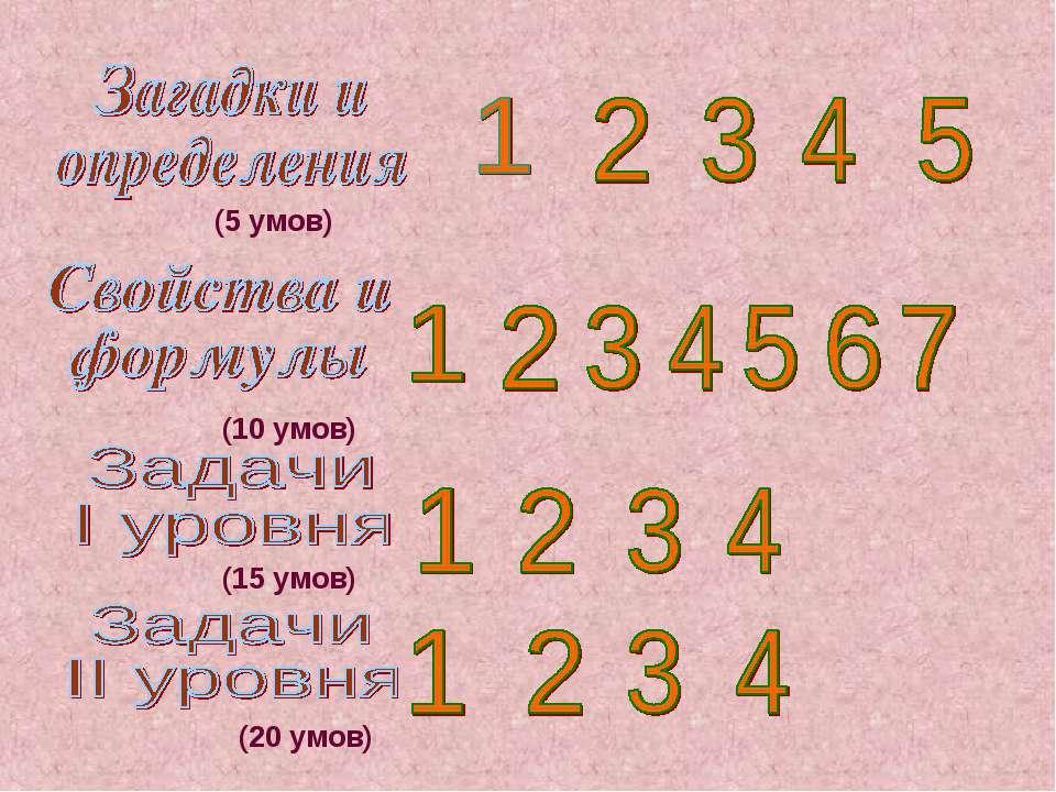 (5 умов) (10 умов) (15 умов) (20 умов)