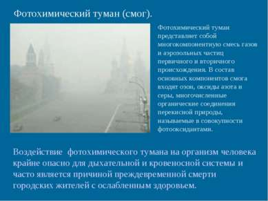 Фотохимический туман (смог). Фотохимический туман представляет собой многоком...