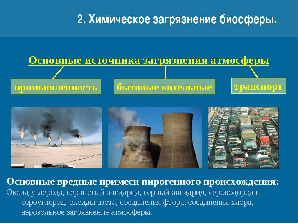 2. Химическое загрязнение биосферы. Основные источника загрязнения атмосферы ...