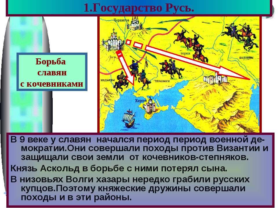 1.Государство Русь. В 9 веке у славян начался период период военной де-мократ...