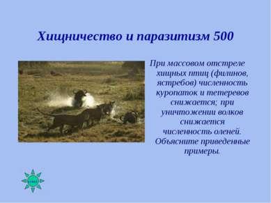Хищничество и паразитизм 500 При массовом отстреле хищных птиц (филинов, ястр...