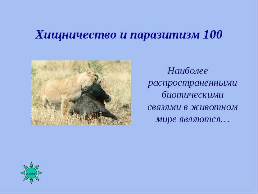 Хищничество и паразитизм 100 Наиболее распространенными биотическими связями ...
