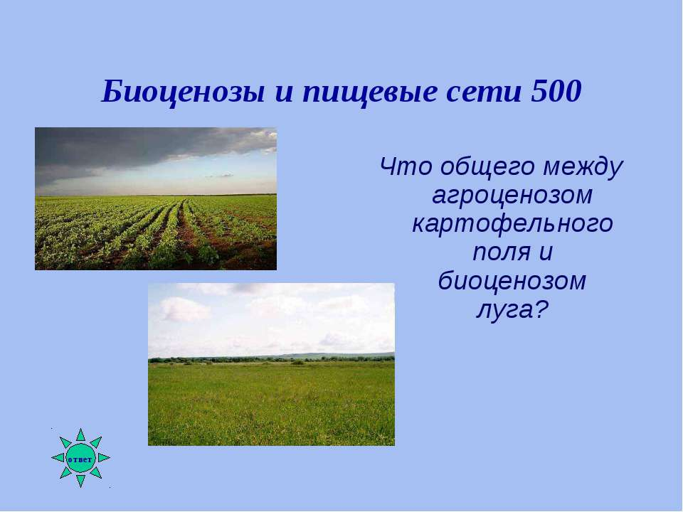 Биоценозы и пищевые сети 500 Что общего между агроценозом картофельного поля ...