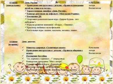 13 июня (понедельник) День России Проведение инструктажа с детьми: «Правила п...