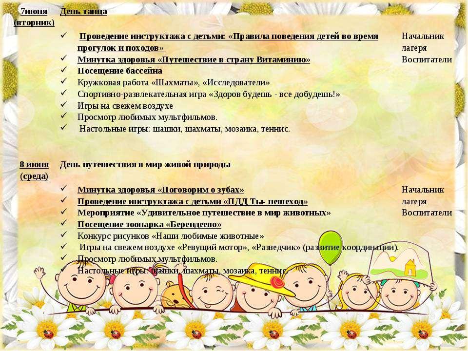 7июня (вторник) День танца Проведение инструктажа с детьми: «Правила поведени...