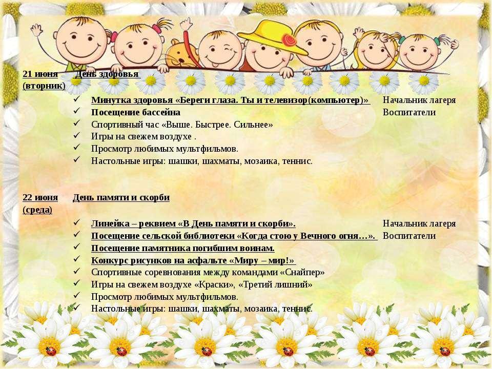 21 июня (вторник) День здоровья Минутка здоровья «Береги глаза. Ты и телевизо...