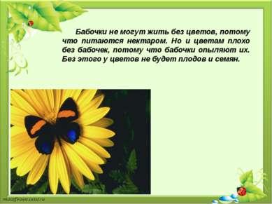 Бабочки не могут жить без цветов, потому что питаются нектаром. Но и цветам п...