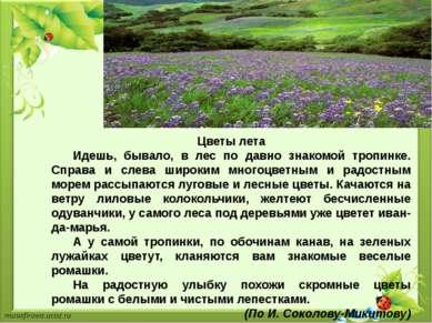 Цветы лета Идешь, бывало, в лес по давно знакомой тропинке. Справа и слева ши...